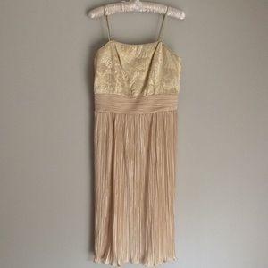 Vintage 80s dress straps gold brocade pleats M